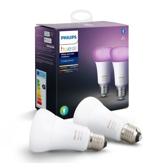 Philips Hue White and Color Ambiance kronepærer Bluetooth E27 9 W 2-pak
