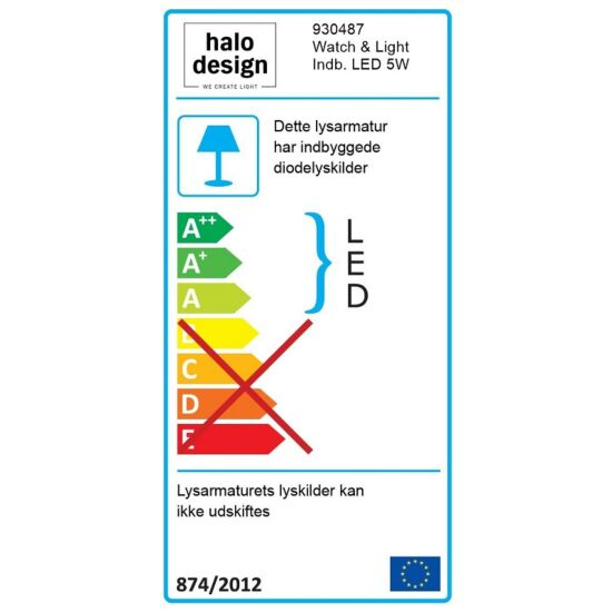 Halo Design LED bordlampe Colors Watch & Light sort/krom 5 W 33 cm